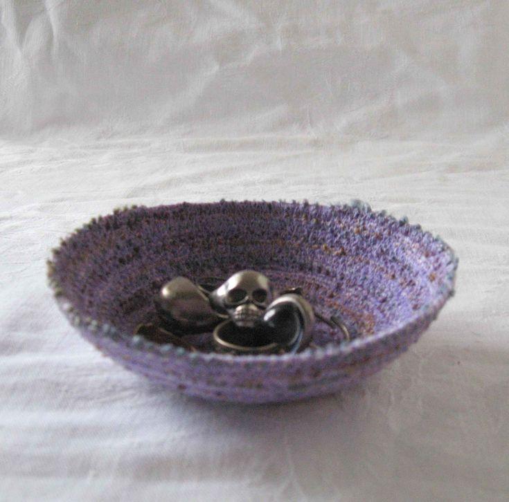 Purple ring dish, key bowl, trinket dish, sundries basket storage basket, cord dish, coiled yarn bowl coiled bowl, coiled basket purple dish by Rethreading on Etsy