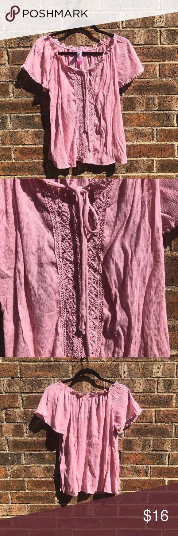 Pink Spanish style shirt Care tag not attached 46% rayon  39% polyester  15% cotton No Boundaries Tops Tees - Short Sleeve