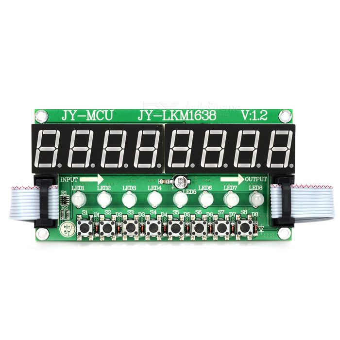 JY-MCU 8X Green Light Digital Tube + 8X Key + 8X Double Color LED Module. Model: TM1638 - Plastic material - Integrates buttons, LED & digital tube - Comes with connection cable & installation screws pack. Tags: #Electrical #Tools #Arduino #SCM #Supplies #Displays