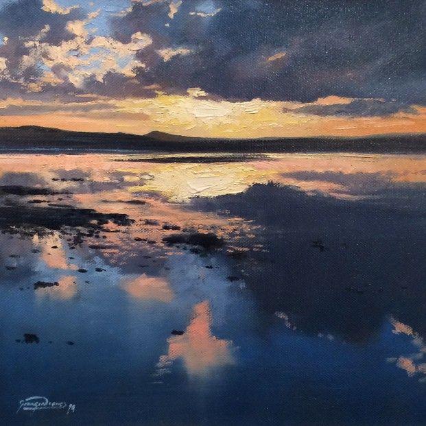 George Noakes_Sunset, Tay Estuary I_Oils_12x12 | Scottish Contemporary Art