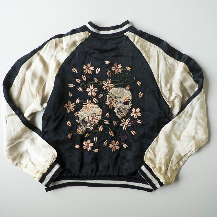 Japanese Souvenir Skull Punk Skeleton Sakura Cherry Blossoms Flowers Zen Simple Sukajan Flight Bomber Jacket - Japan Lover Me Store