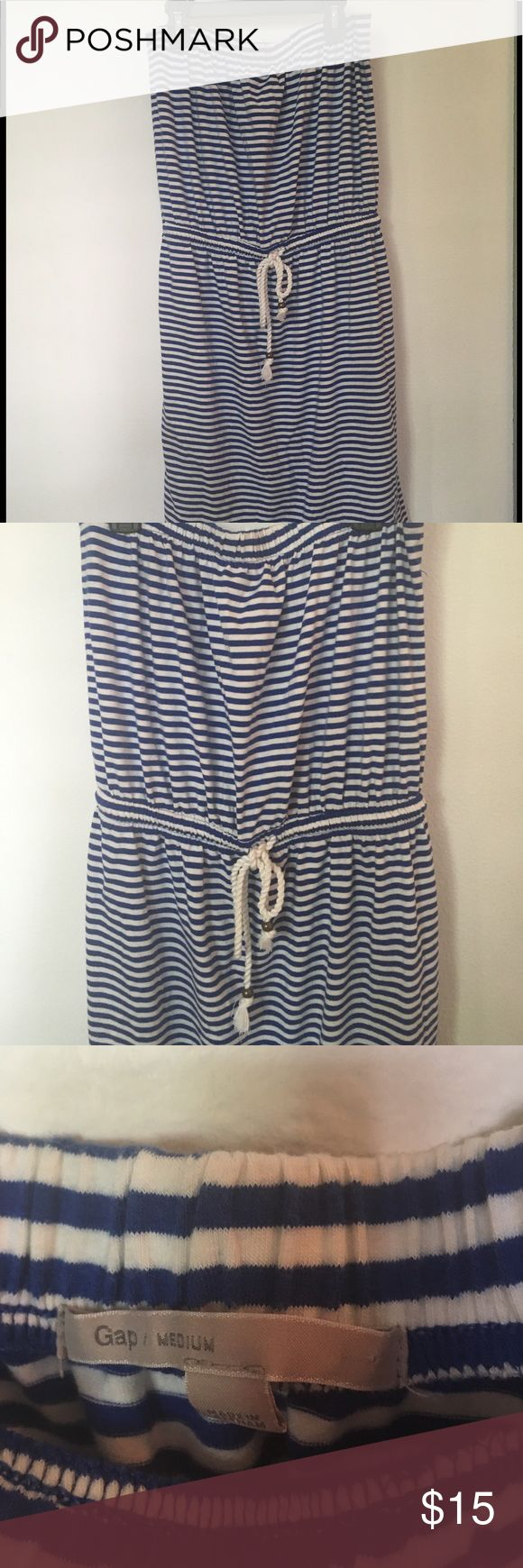 Gap striped nautical dress Perfectly cute nautical gap tube dress. Elastic waist with rope tie. Like new condition, very nice weight to fabric. It's a classic! GAP Dresses Strapless