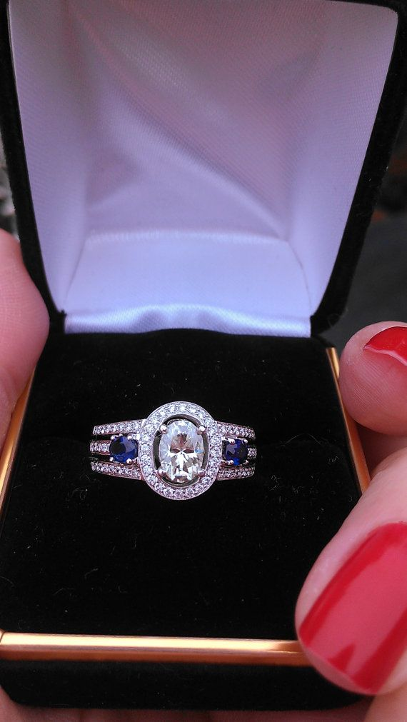 Gorgeous 14k Gold Diamond Blue Sapphire Engagement Ring OUTSTANDING on Etsy, $3,999.00