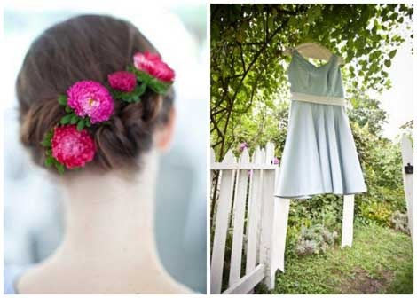 Lovely bride Lissa's pretty flower-trimmed braids (and short and sassy blue dress!)