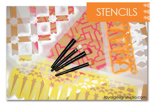 Along with the varied color palette, your stencil options are endless to create your unique wall canvas art. http://www.royaldesignstudio.com/collections/moroccan-stencils