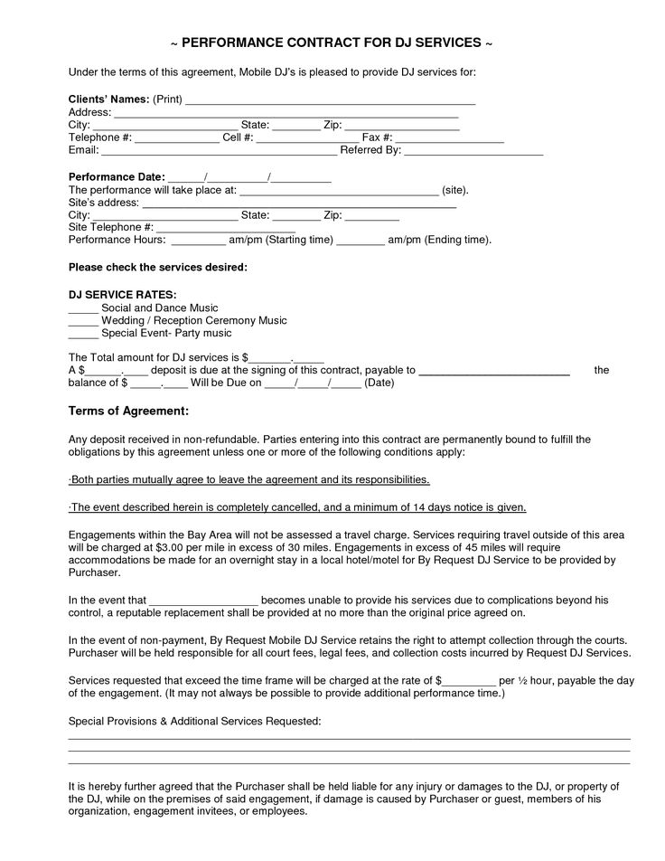 mobile dj contract