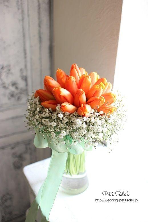 人気のチューリップとかすみ草のブーケ、今回はオレンジで。明るく可愛らしい印象の花嫁様によくお似合いです^^プチソレイユ 楽天市場http://www.rakuten.co.jp/petit-soleil/ウェディングブーケのデザイン集・お問合せ・お見積もりはHPよりお願い致します。...
