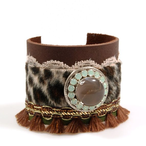 Wide leather cuff panther print fur brown with by CatenaSieraden