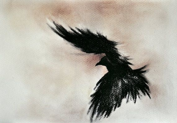 Flying Raven Original Charcoal Drawing Dark Gothic Art