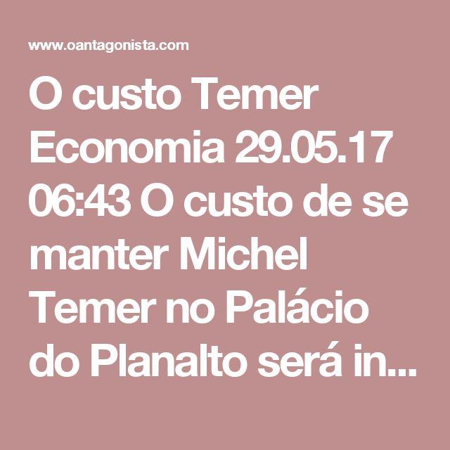 """O custo Temer  Economia 29.05.17 06:43 O custo de se manter Michel Temer no Palácio do Planalto será insuportavelmente alto. Em primeiro lugar, ele vai atacar a Lava Jato. Em segundo lugar, ele vai diluir as reformas. O plano B para a cobrir o rombo das aposentadorias, por exemplo, vai atingir todos os trabalhadores, exceto os servidores públicos. Leia o que diz O Globo: """"As propostas alternativas valeriam apenas para os trabalhadores do setor privado (INSS) e comprometeriam dois grandes…"""