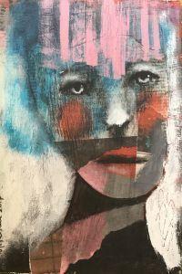 """""""Nå"""", 20x30 cm painting by Kari Anne Marstein. Maleri og mixed media på treplate. Purenkel Galleri, Grünerløkka i Oslo. Gallery in Oslo, art in Oslo."""