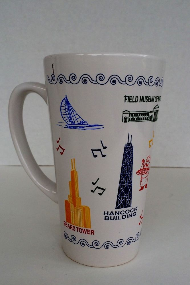 New Without Tags M Ware Tall Coffee Mug Chicago Souvenir Cup | eBay