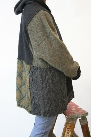 Upcycled sweaters into hoodie jackets by isrc