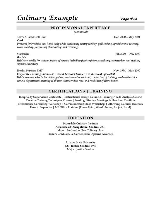 private chef resume samples