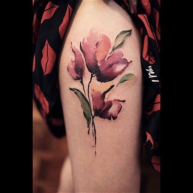 Red Poppy Flower Watercolor tattoo