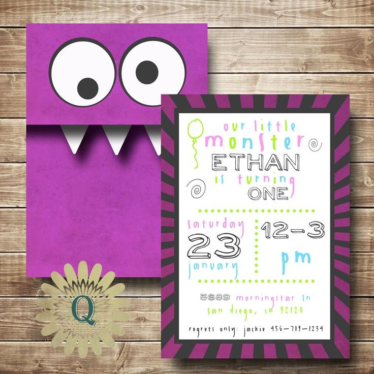 Monster Kid Birthday Invitation Double Sided Printable. $13.00, via Etsy.