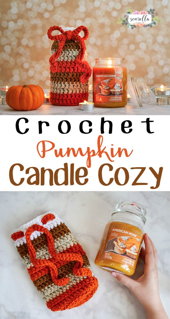 Make this cute pumpkin candle cozy for gift giving around the holidays! What a perfect hostess gift for Thanksgiving! Free Pattern from Sewrella