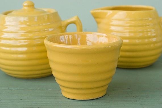 Yellow Bauer Ringware 4 Piece Creamer Set by AtHomeInNapa on Etsy, $75.00
