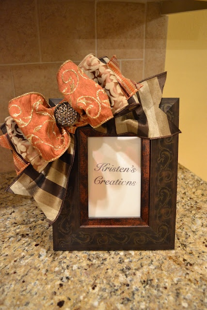 Kristen's Creations: Pcture Frame, Diy Pcture, Bows On Picture Frames, Fall Hairbows, Crafts Diy, Craft Ideas, Crafty Ideas