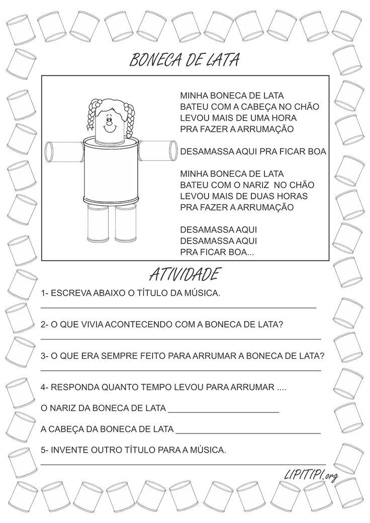 5 Atividades Primeiro Ciclo Boneca de Lata   A música popular boneca de lata já foi interpretada por diversos artistas como: Bia Bedran, X...