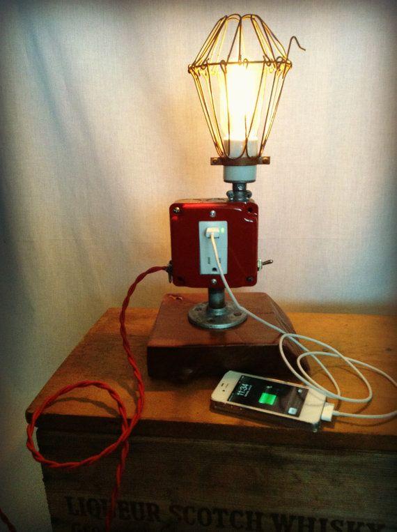 Lamp Industrial Light Usb Port Cell Phone Man Cave Dorm