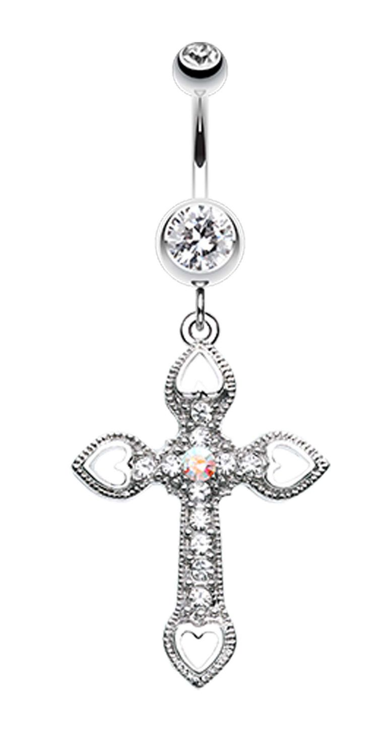 Cross Hearts Belly Button Ring