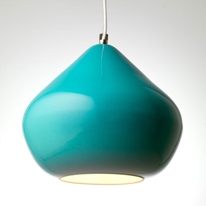 Delivery 4 weeks from order if not in stock Price £300 inc VAT  Design by Tom Housden  Dimensions Large: Ø35cm, h32cm, flex 2m Weight: 5kg Light source Max 42W Recommended LED light bulbs Recommended Halogen light bulbs Options Shade: yellow & turquoise Flex: white / grey