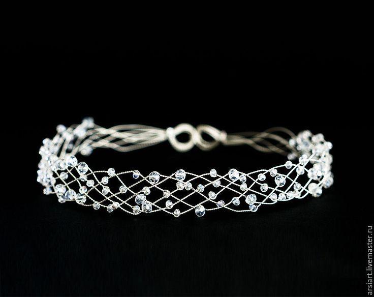 Купить 42_Корона со светлыми кристаллами, Серебряный ободок, Свадебный ободок - корона с кристаллами