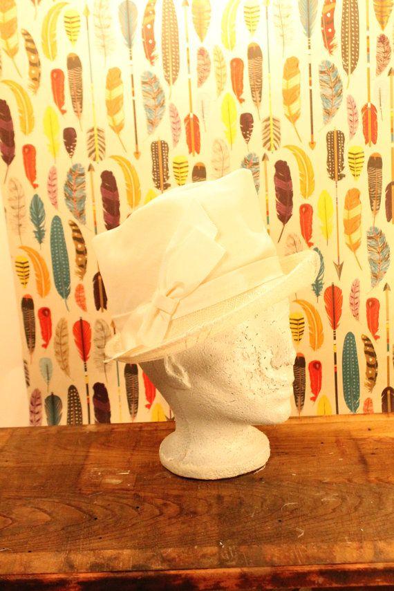White Top Hat Women's Hat Winter Hat  Off by ClockworkRummage