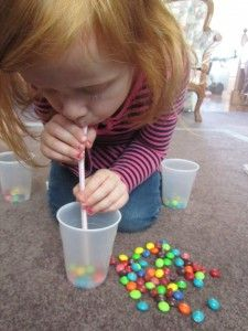 Fun Skittles game for all ages.  Great fine motor practice for preschool aged kids.