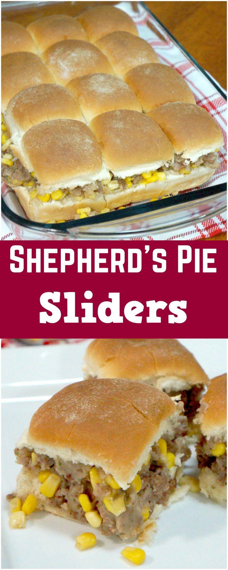 Shepherd's Pie Slider Sandwiches. Easy dinner recipe. Mini shepherd's pie sandwiches. Ground beef and mashed potatoes on a bun.