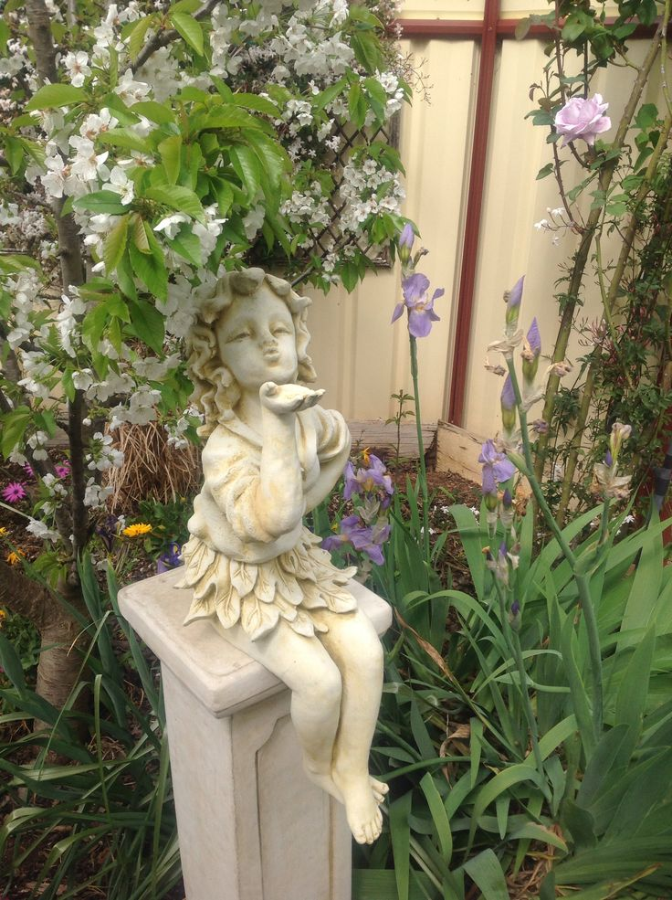 ELMS-HAVEN, our lovely fairy statue  blowing a kiss. She is new, I haven't put yogurt on her yet. The cherry tree is in the background, we will get lots this year if we can keep the birds away.
