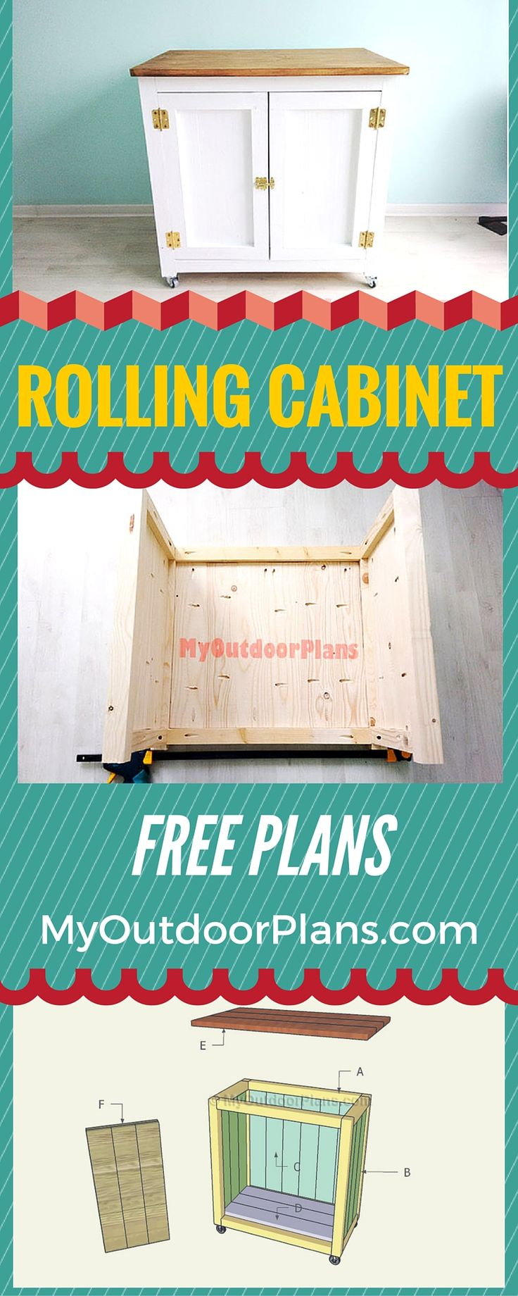 Free Rolling Cabinet Plans - Learn how to build a farmhouse style cabinet on caster wheels, so you can move it easily! howtospecialist.com