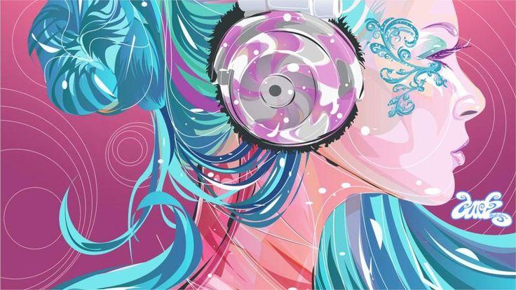 Стиль Вектор девушка профиль наушники sinii волосы светлые цвета 4 Размеры Домашнего Декора Холст Печати Плакатов