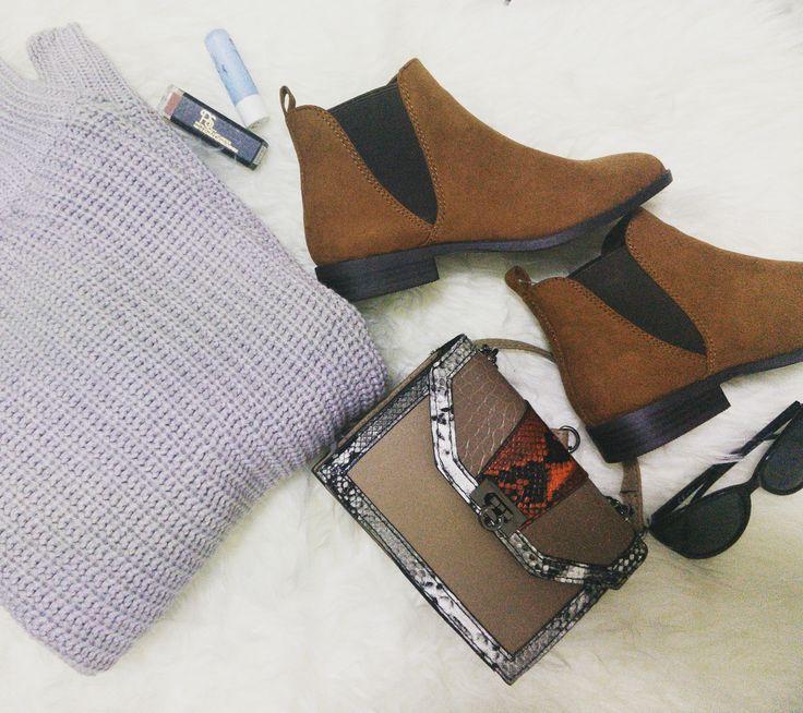 Fashion: Winter Essentials 2017 Primark Wool sweater + Primark Boots + Primark Bag + Primark Mate lipstick