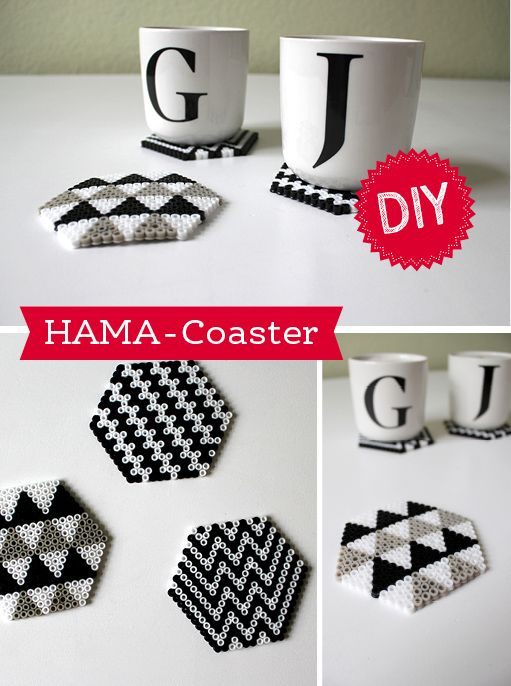 DIY-Hama: Coaster Greyscale Perler Hama Melty Fuse Beads