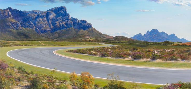 Painting of a Franschhoek farm road Western Cape