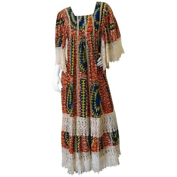 Preowned 1970s African Viscose Batik Maxi Dress With Lace ($650) ❤ liked on Polyvore featuring dresses, brown, maxi dresses, boho maxi dress, brown maxi dress, empire waist maxi dress, african lace dresses and crochet lace dress