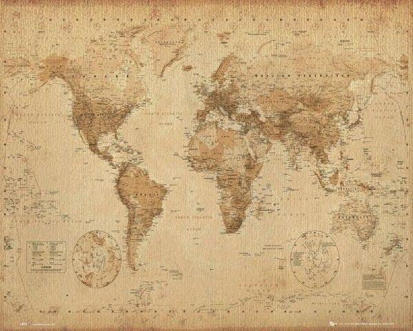 Wereldkaart - Antieke Stijl Poster