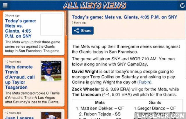 All Mets News  Android App - playslack.com , This app is made for New York Mets fans to get all of your news in ONE place! There are 15+ different news feeds from 15+ various blogs/sites. There are 5+ podcast stations for those who like to listen to their New York Mets news! View the New York Mets schedule, stats, standings, and more! Buy tickets directly from the app! This New York Mets news app is one of a kind, and you will see why after downloading it! Get the app today for FREE! We are…