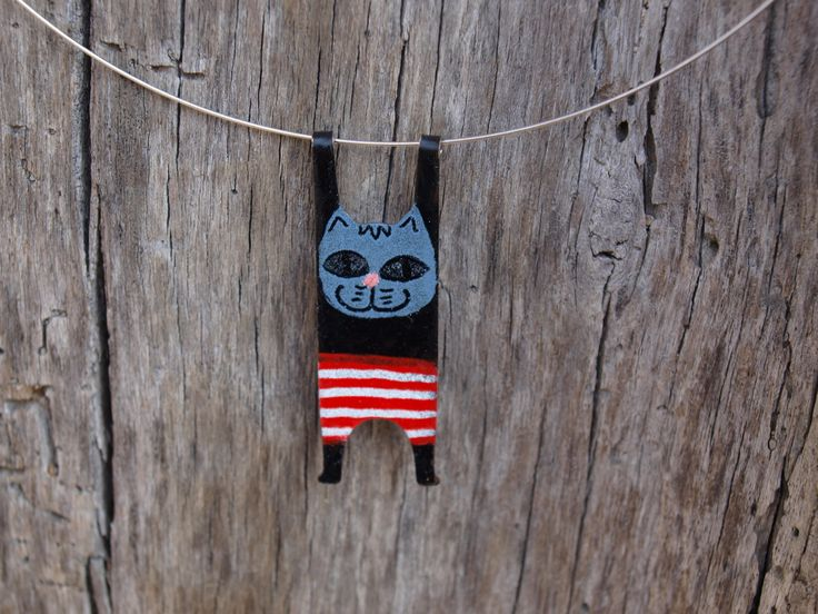 Funny Cat, Colorful Necklace, Stainless Steel, Handpainted Jewelry, Whimsical Kitty, Enameled Necklace, Quirky Jewelry, Cat Lover Gift by CinkyLinky on Etsy