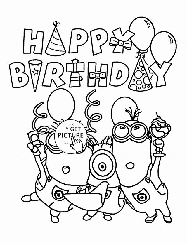 Brilliant Image Of Printable Birthday Coloring Pages Entitlementtrap Com Happy Birthday Coloring Pages Birthday Coloring Pages Minion Coloring Pages
