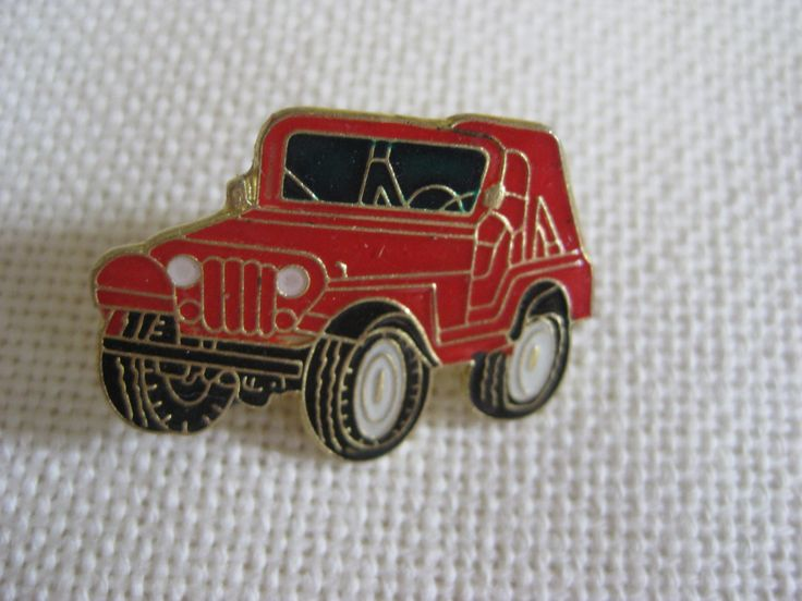 Vintage Red or Blue Jeep Pin by VintageByThePound on Etsy