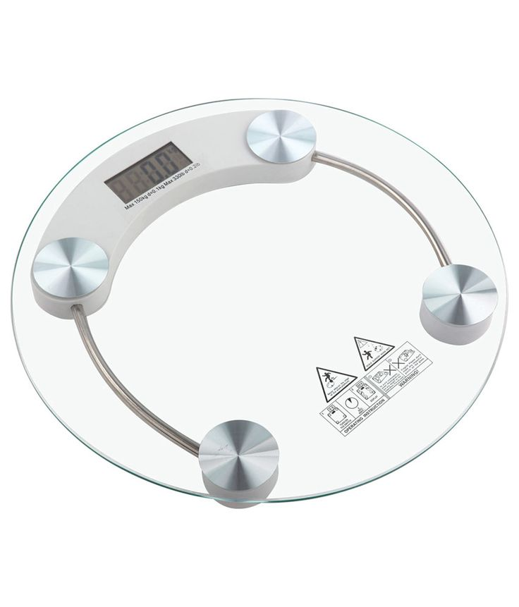 Digital LCD Electronic Tempered Glass Bathroom Weighing Scale 8mm (Round)