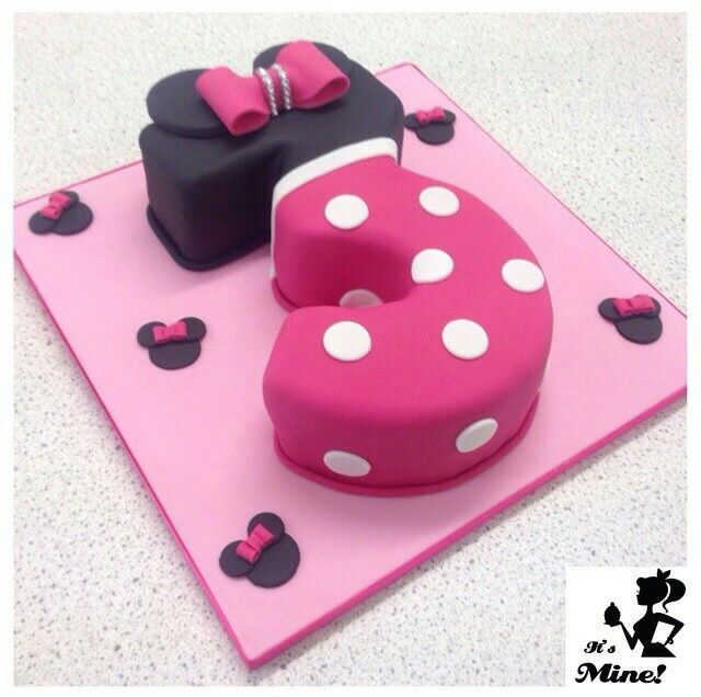 Minnie mouse themed number three cake