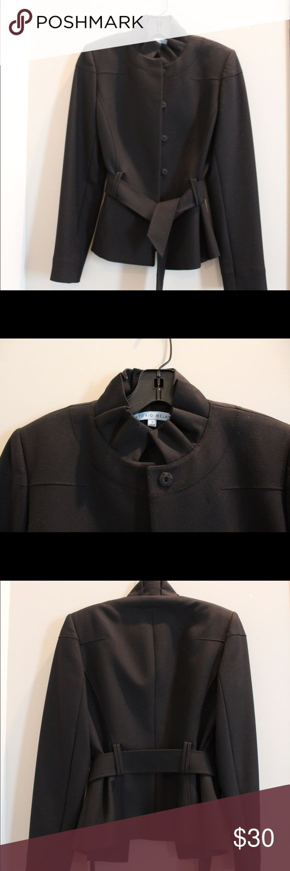 Antonio Melani suit Antonio Melanie black suit! • modern and slim fit • it buttons up and has a band to tie around the waist if desired • worn very little • perfect conditions ANTONIO MELANI Jackets & Coats