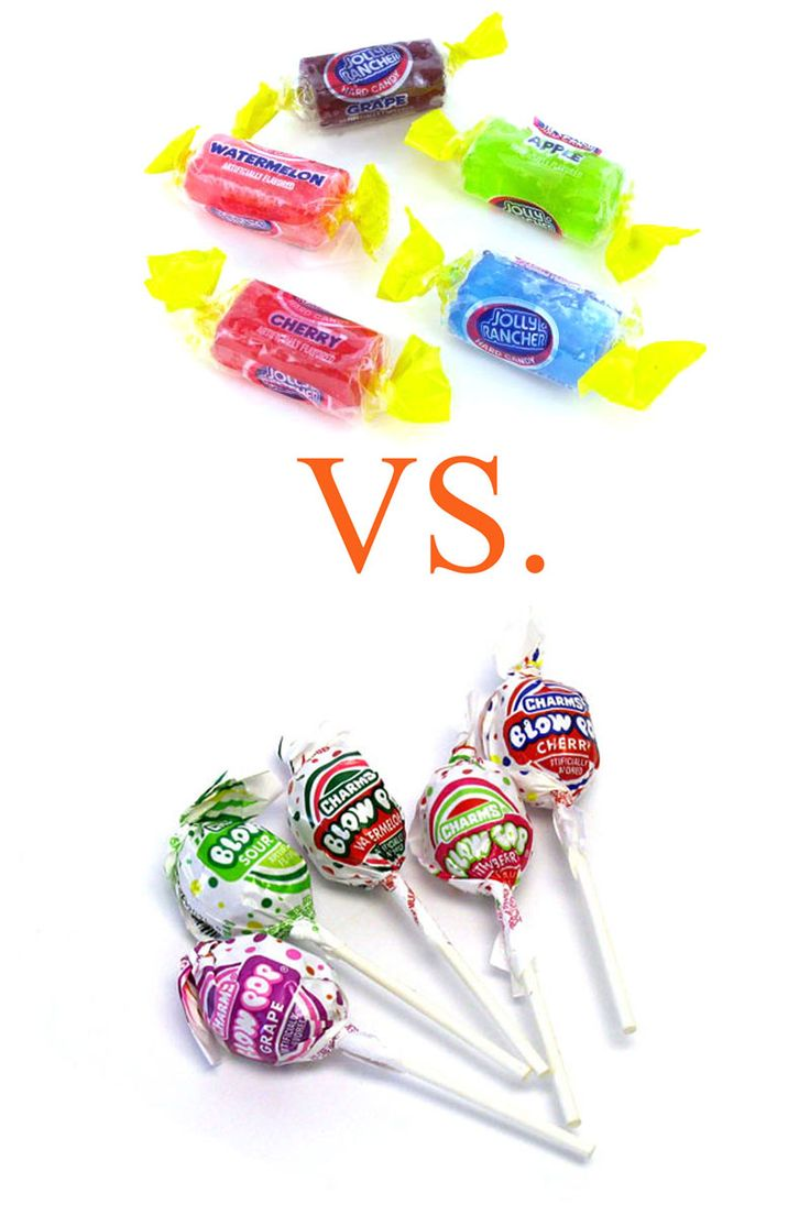 """Jolly Rancher vs. Blow Pop Though hard candies are less likely to damage your waistline since they take longer to consume, they are not friends to your teeth. """"To minimize dental damage, choose a Jolly Rancher,"""" says Baum. """"A Blow Pop has a sweet, chewy, bubble-gum center, which glues sugar to your teeth as you chew on it."""" Three Jolly Ranchers contain almost the same number of calories as a single Blow Pop, meaning you can spread out your sucking, and enjoy them at a few different points…"""