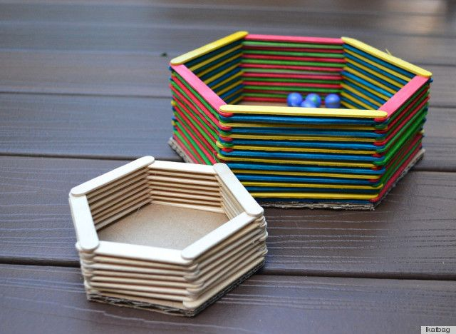 craft stick bowls! Kids can easily make these and use them to hold pencils, erasers, and other essentials in their desk.