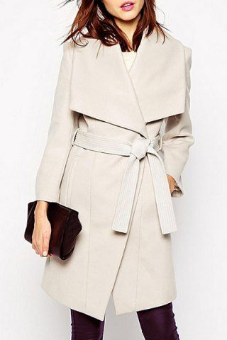 OL Style Turn-Down Collar Off-White Long Sleeve Coat For Women