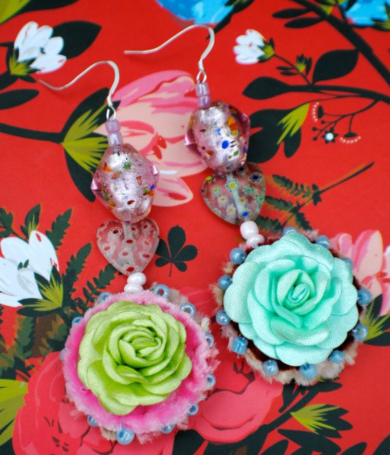 Hand Sewn Dangle Earrings in Green and Pink with by MrsMacBeth